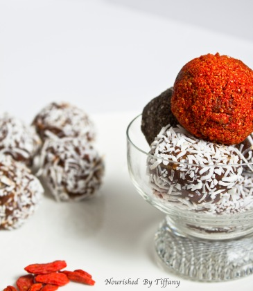 Goji Berry, Banana, Almond, and Cacao Oats Groats Protein Bliss Ball