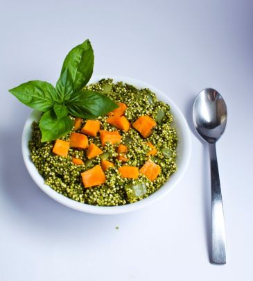 Kale & Basil Pesto Quinoa with Sweet Potato