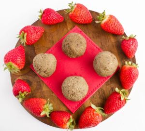 Green Pea, Strawberry, Mint , and Walnut Bliss Ball