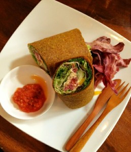 Gluten Free and Vegan Red rice flour wrap with falafel, eggplant, and salad